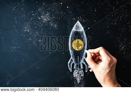 Bitcoin Logo Rocket Launcher, Cryptocurrency Concept. The Growth Rate Of The Gold Coin For Designers