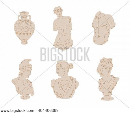 Set Of Different Antique Greek Marble Statue. Classical Art Statues Of Ancient Gods, Flat Vector Ill