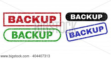 Backup Grunge Watermarks. Flat Vector Grunge Seal Stamps With Backup Phrase Inside Different Rectang