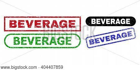 Beverage Grunge Stamps. Flat Vector Grunge Seal Stamps With Beverage Caption Inside Different Rectan