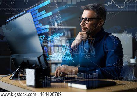 Financial Kpi Data Profits Dashboard On Computer