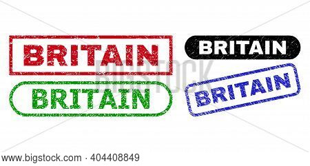 Britain Grunge Seal Stamps. Flat Vector Textured Seal Stamps With Britain Title Inside Different Rec