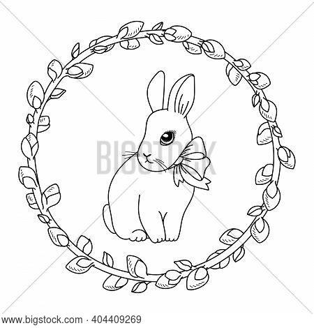 Vector Doodle Easter Bunny With Bow And Willow Wreath. Cute Cartoon Rabbit. Hare Outline Minimalisti