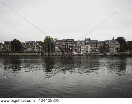 Panorama Cityscape View Of Namur City From Meuse Maas River Wallonia Belgium Europe