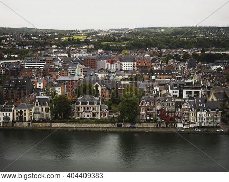 Panorama Cityscape View Of Namur City From Historic Medieval Fortress Citadel Meuse Maas River Wallo