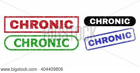 Chronic Grunge Seal Stamps. Flat Vector Distress Seal Stamps With Chronic Text Inside Different Rect
