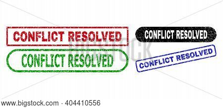 Conflict Resolved Grunge Seals. Flat Vector Distress Seals With Conflict Resolved Message Inside Dif