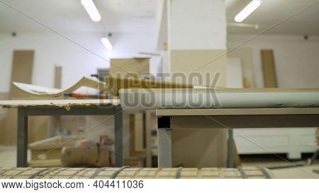Woodworking Industry. Furniture Workshop. Wooden Blanks On A Furniture Backwash. A Workshop For The