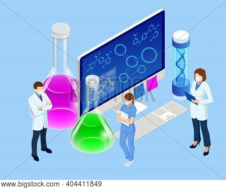 Isometric Doctor Team While Working Analysis Lab, Chemical Laboratory Science. Research Teams In Che
