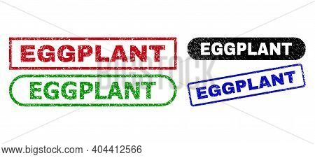 Eggplant Grunge Seal Stamps. Flat Vector Grunge Seal Stamps With Eggplant Text Inside Different Rect