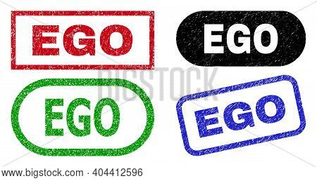 Ego Grunge Seal Stamps. Flat Vector Distress Stamps With Ego Message Inside Different Rectangle And