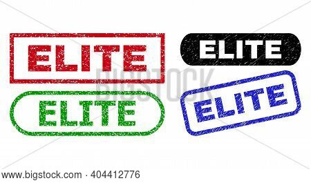 Elite Grunge Seal Stamps. Flat Vector Distress Seal Stamps With Elite Tag Inside Different Rectangle