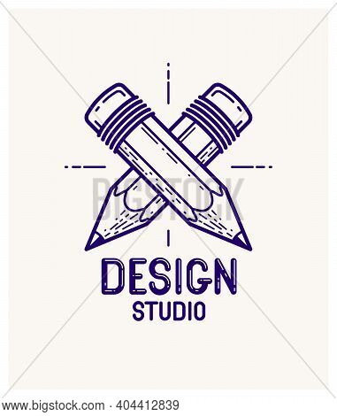 Two Crossed Pencils Vector Simple Trendy Logo Or Icon For Designer Or Studio, Creative Competition,