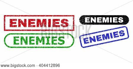Enemies Grunge Seal Stamps. Flat Vector Textured Seal Stamps With Enemies Message Inside Different R