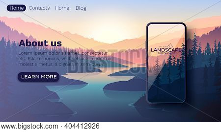 Landscape With Silhouettes Of Mountains And Mountain River. Smartphone Screen Wallpaper Mockup. Natu