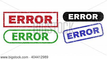 Error Grunge Stamps. Flat Vector Grunge Seal Stamps With Error Slogan Inside Different Rectangle And