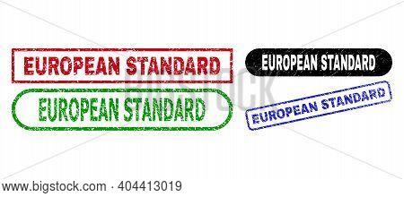 European Standard Grunge Stamps. Flat Vector Grunge Stamps With European Standard Title Inside Diffe