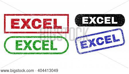 Excel Grunge Stamps. Flat Vector Grunge Watermarks With Excel Caption Inside Different Rectangle And