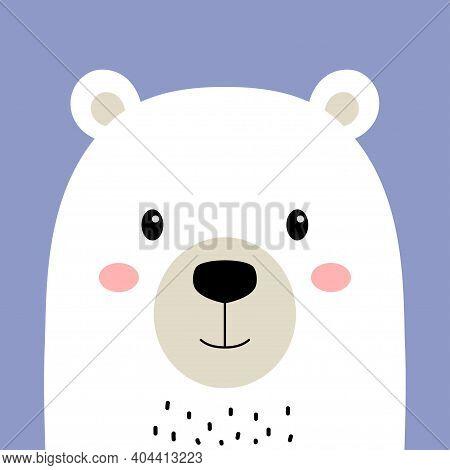 Cartoon Arctic Polar Animal, Cute White Bear On Violet Background, Flat Design, Vector Illustration