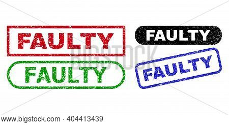 Faulty Grunge Watermarks. Flat Vector Textured Stamps With Faulty Tag Inside Different Rectangle And