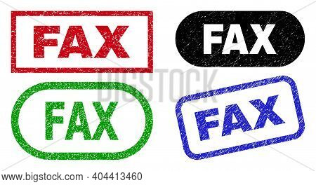 Fax Grunge Watermarks. Flat Vector Distress Seal Stamps With Fax Text Inside Different Rectangle And