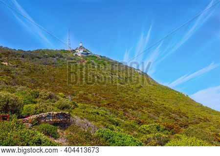 Observatory at the top of the mountain. Cape of Good Hope at the southern tip of the Cape Peninsula, South Africa. Bright sunny summer february day