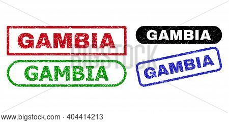 Gambia Grunge Watermarks. Flat Vector Grunge Watermarks With Gambia Phrase Inside Different Rectangl