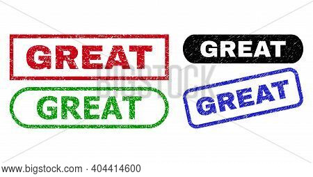 Great Grunge Seals. Flat Vector Scratched Seals With Great Text Inside Different Rectangle And Round