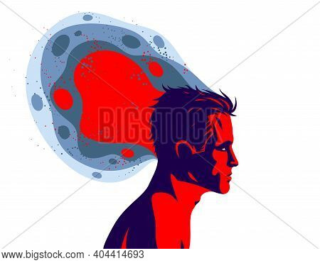 Man Profile With Abstract Fluid Shapes In Motion From His Head Vector Illustration, Mindfulness Phil