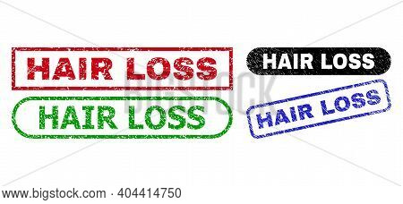 Hair Loss Grunge Stamps. Flat Vector Distress Stamps With Hair Loss Message Inside Different Rectang