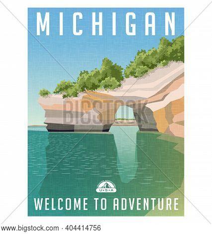 Michigan Travel Poster Or Sticker. Retro Style Vector Illustration Of Sandstone Cliffs On Lake Super