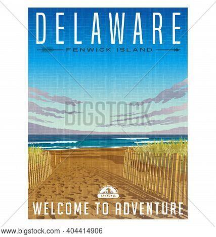Delaware Travel Poster Or Sticker. Retro Style Vector Illustration Of Serene Beach On Fenwick Island