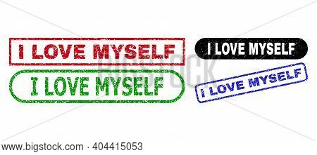 I Love Myself Grunge Stamps. Flat Vector Distress Seal Stamps With I Love Myself Text Inside Differe