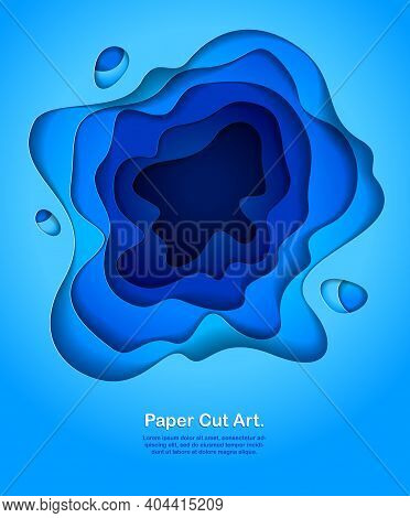 Abstract Blue Paper Cutout Curvy Shapes Layered, Vector Illustration In Paper Cut Style. Layout For