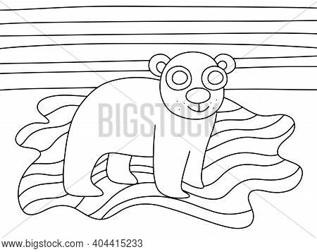 Happy Polar Bear Kid On Iceberg Coloring Page For Kids And Adults Stock Vector Illustration. Interna