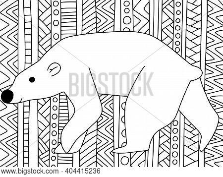 Polar Bear On Ornamental Zen Art Horizontal Coloring Page Vector. Funny Arctic Cartoon Animal Bear B