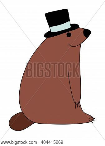 Funny Cartoon Groundhog With Top Hat Stock Vector Illustration. Happy Groundhog Day Cute Colorful Ch
