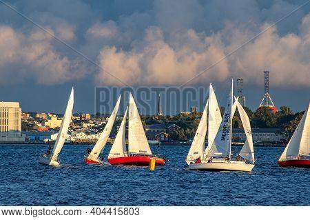 Sailboat Race On Hudson River