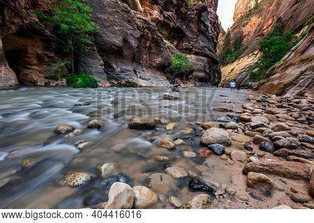 Rough River Crossing At The Zion Narrows, Narrow Of The Virgin River, Steep Faces Of Zion Canyon, Zi