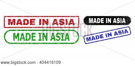 Made In Asia Grunge Seal Stamps. Flat Vector Grunge Seal Stamps With Made In Asia Title Inside Diffe