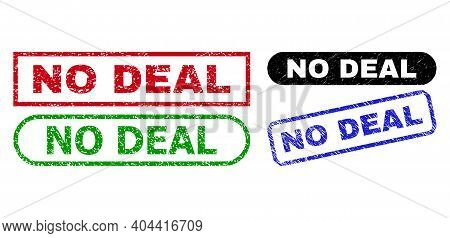 No Deal Grunge Seal Stamps. Flat Vector Textured Seal Stamps With No Deal Caption Inside Different R