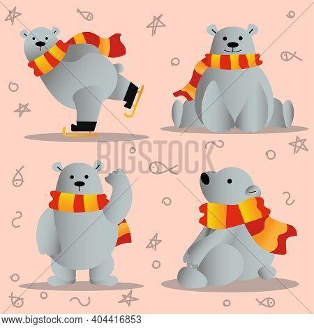 Polar Bear. Flat Illustration. Cute Gray Bear.
