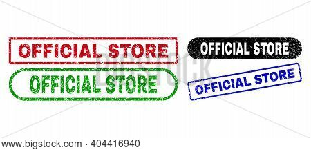 Official Store Grunge Seal Stamps. Flat Vector Scratched Seal Stamps With Official Store Caption Ins