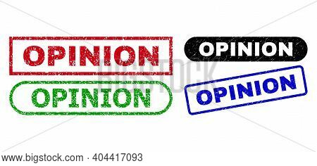 Opinion Grunge Seal Stamps. Flat Vector Textured Seal Stamps With Opinion Caption Inside Different R