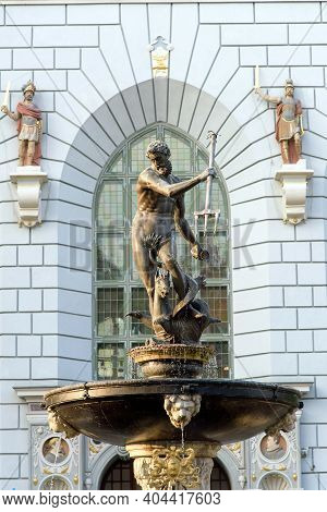 Neptune's Fountain Sculpture In The Center Of Gdansk, Poland
