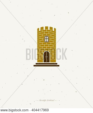 Medieval Tower Decorative Isolated Vector Illustration. Retro Style Label, Heraldry Illustration. An