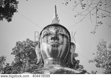 Phayao, Thailand - Dec 6, 2020: Headshot Black And White Front Buddha Statue In Green Forest And Blu