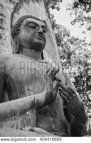 Phayao, Thailand - Dec 6, 2020: Portrait Black And White Low Angle Zoom View Buddha Statue On Forest
