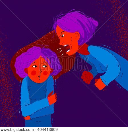 Abusive Mother Vector Illustration, Bad Mother Scream And Shout On Little Scared Girl Her Daughter,
