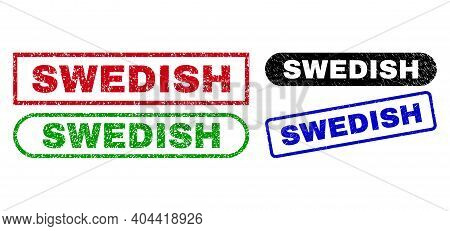 Swedish Grunge Seals. Flat Vector Grunge Seals With Swedish Message Inside Different Rectangle And R